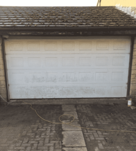 spraying a upvc garage door