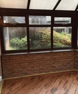 spraying brown upvc conservatory white