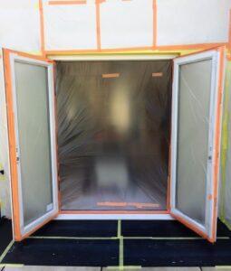 masking up upvc patio doors for spraying