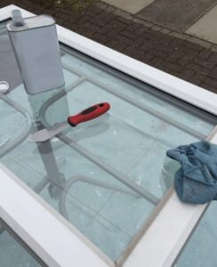 cleaning upvc windows with solvent cleaner
