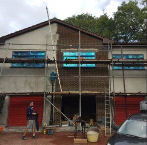 spraying all the exterior upvc on a house in tottington bury lancashire