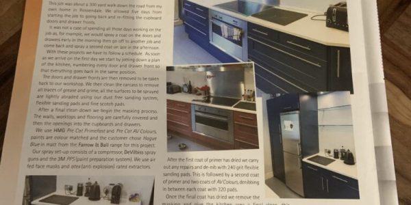 spraying kitchen cupboards farrow ball hague blue