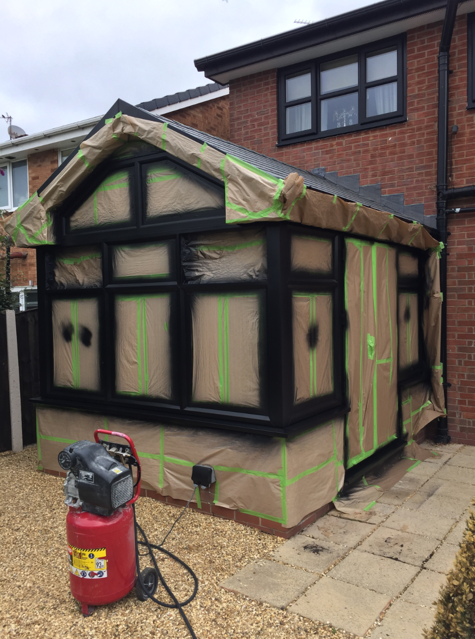 how can you spray paint a upvc conservatory