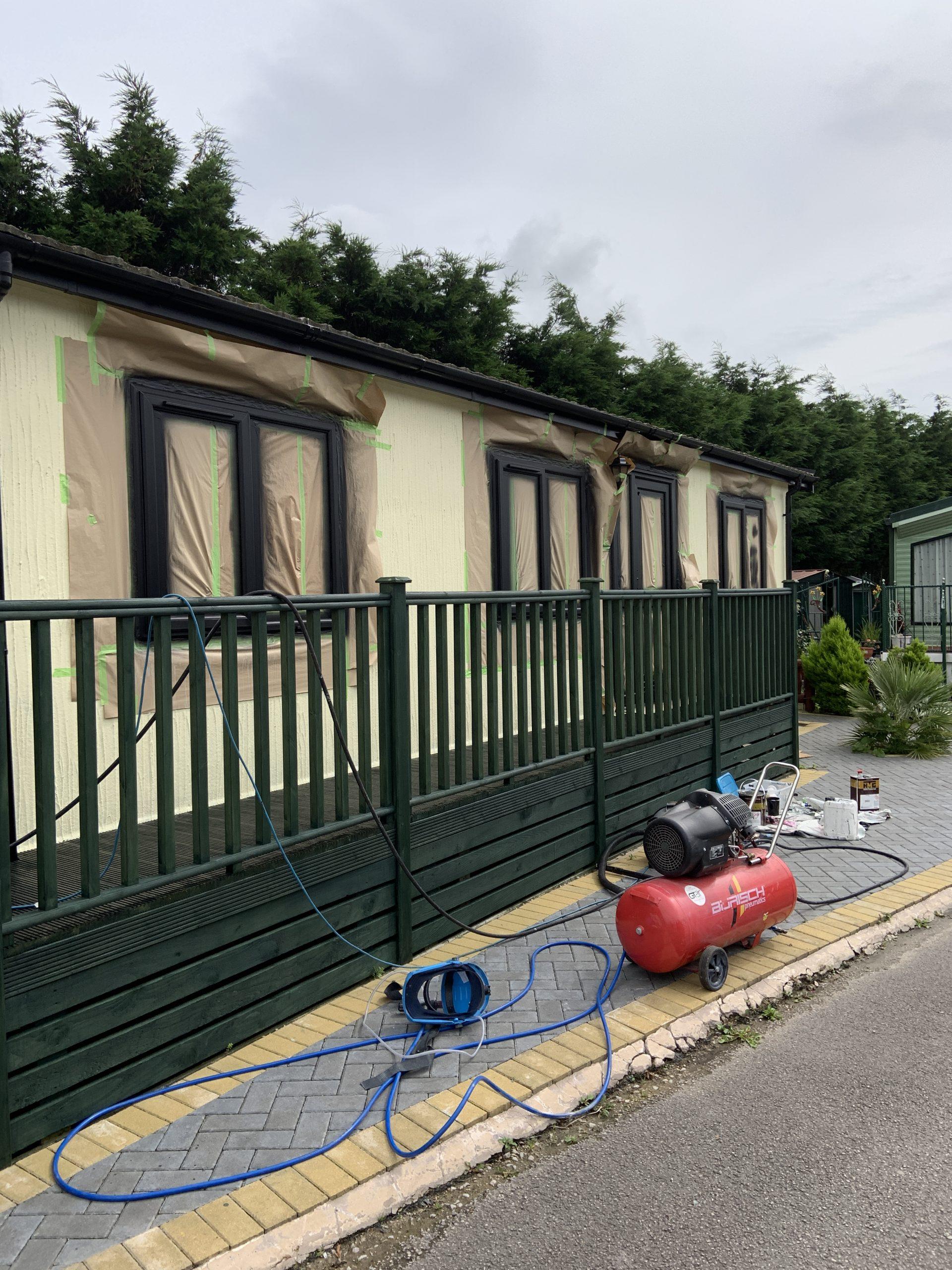spray painting static caravan upvc windows morecambe